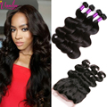 Brazilian Hair Weave Pre Plucked 360 Lace Frontal Closure With 4 Bundles Brazilian Virgin Human Hair Body Wave 360 Frontal 7A
