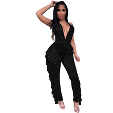 Summer new best female sexy jumpsuit solid color backless V-neck thin onesies