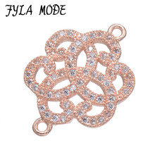 Fyla Mode AAA Zircon Flower Gem Stone Micro Pave Connector Charm Beads Bracelet Silver Gold Rose Gold Color Wholesale 20*14mm