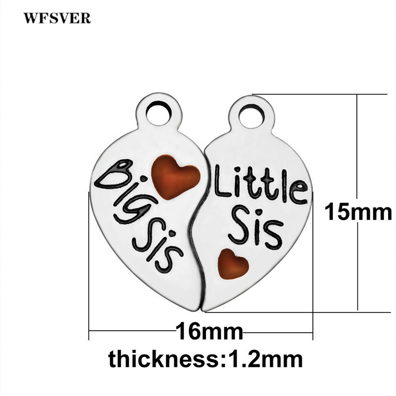 WFSVER 5set lot 15 16mm stainless steel sisters charms silver heart shape big sis little sis letter pendant charm jewelry making in Pendants from Jewelry Accessories