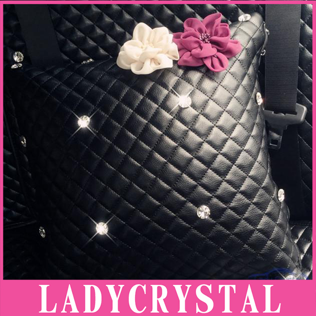 Ladycrystal Soft Space Cotton Leather Car Hold Pillow Auto Car Head Neck Rest Diamond Crystal Flowers Pillows