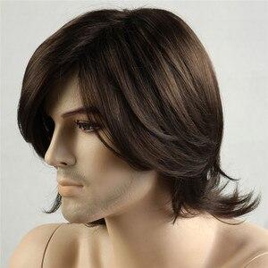 Image 3 - MSIWIGS/короткие синтетические мужские парики, Термостойкое волокно, коричневый цвет, прямой мужской парик с бесплатной сеткой для волос