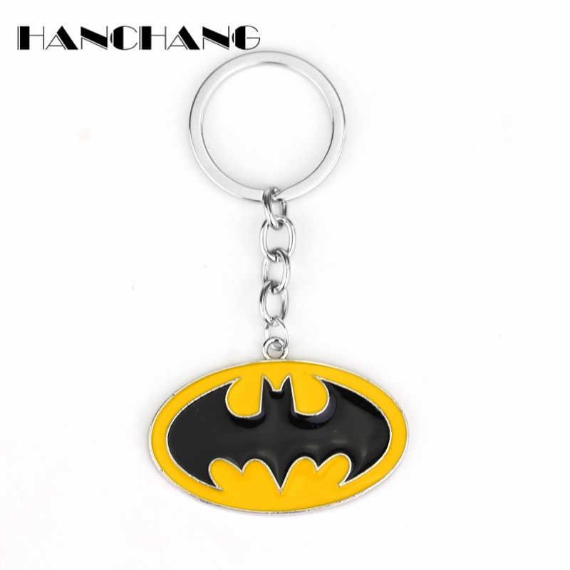 DC Comics Batman Bat Padrão Oval Pingentes de Jóias Encantos Anel Chave Chaveiro Chaveiro Chaveiro