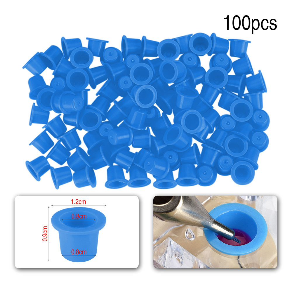 100pcs Plastic Yellow Blue Small Number Permanent Makeup Tattoo Ink Cups Pigment Caps Tattoos Color Cup Accessories