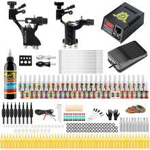 цена на Hybrid Professional Complete Tattoo Kit Tattoo Machine Kit Rotary Machine Guns 54 Inks Power Supply Grips Ink Set TK255