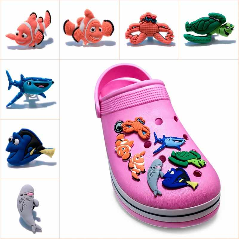 9897f3f063a8 10pcs ot Cartoon Finding Nemo PVC Shoe Charms Dory Shoe Buckles Accessory  Fit Wristbands Bracelet