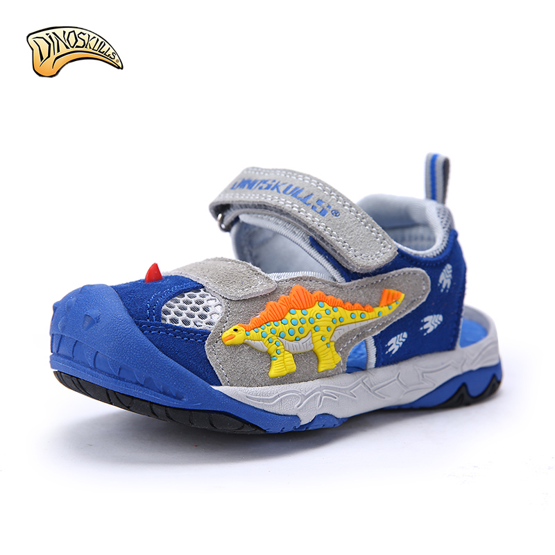 Dinoskulls 2017 Boys Sandals Kids Summer Shoes Beach Closed Toe Sandals 3D Dinosaur Mesh Sandals Factional Anti-Velvet Sandals