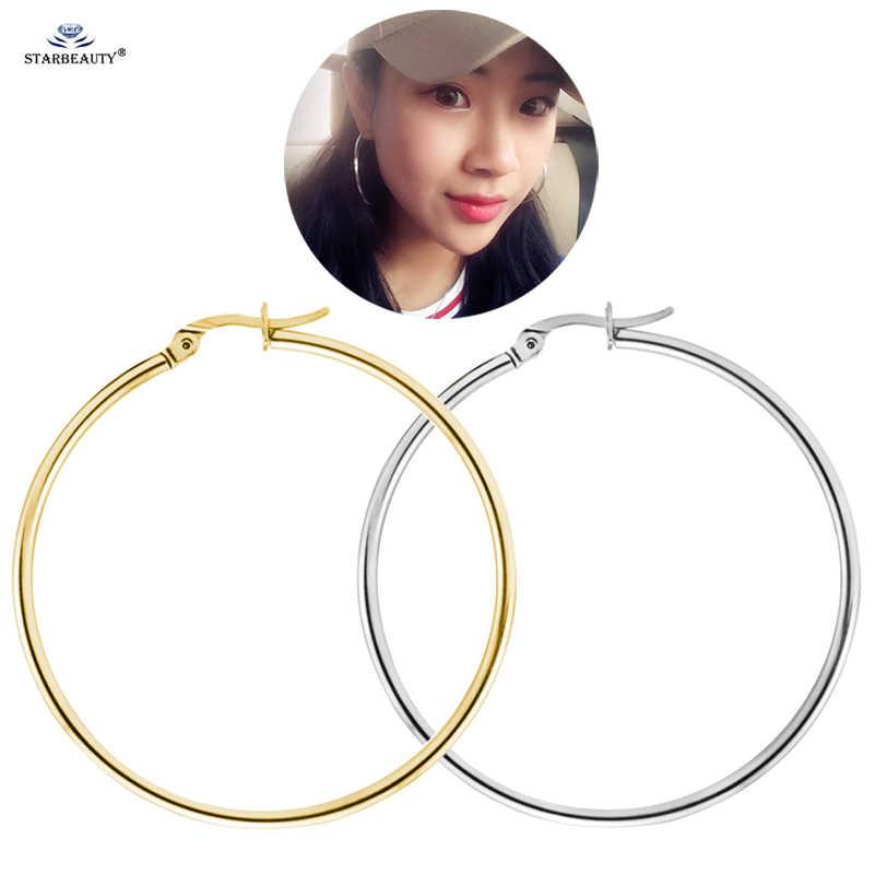 Starbeauty 2 pçs/lote 3 ~ 7 centímetros Grandes Brincos de Argola para As Mulheres De Titânio Brincos de Loop Helix Piercing Plugue de Orelha de Ouro piercing Jóias