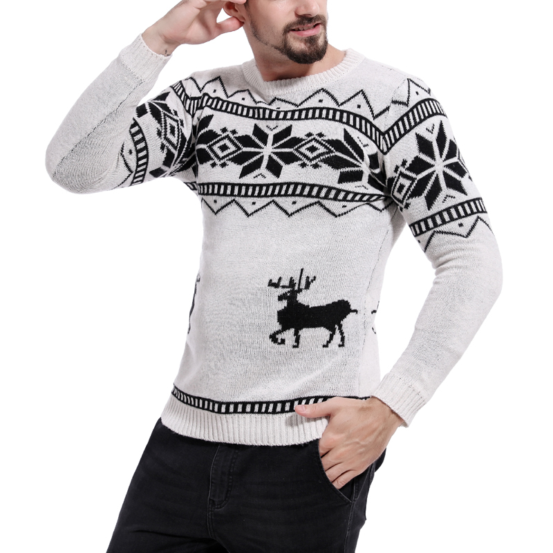 Loldeal Sueter Hombre X-mas Sweaters Male Men O-Neck Long Sleeve Christmas With Deer Pattern Slim Pullovers Pull Homme