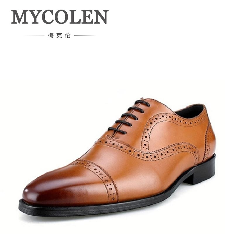 MYCOLEN Top Quality Bullock Oxfords Shoes For Men Dress Shoes British Style Genuine Leather Men Shoes Winter chaussures hommes