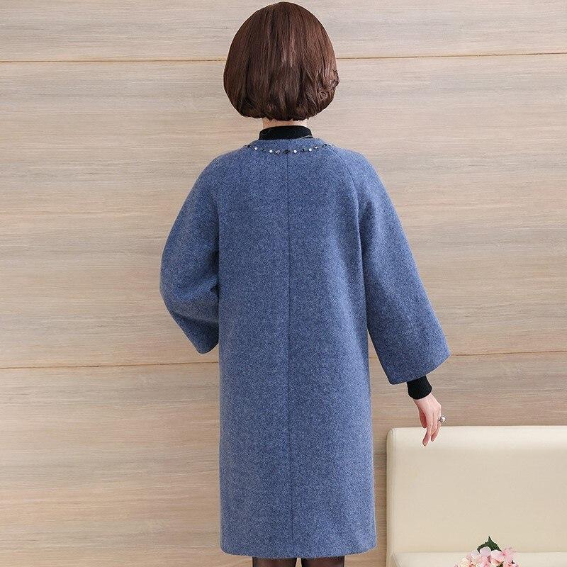 Moyen Veste D'hiver 2019 Perlé Vêtements Mode Mère Long Femmes Manteau D'âge Laine De Bleu rose R3j5A4Lq