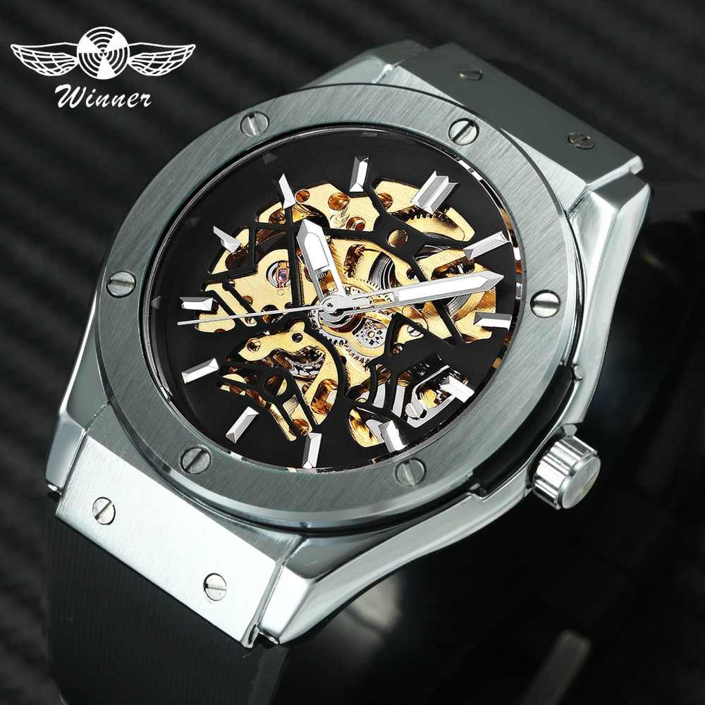 848cd15f27a WINNER Men Military Watches 2018 Fashion Auto Mechanical Wristwatch Rubber  Strap Skeleton Stainless-steel Case