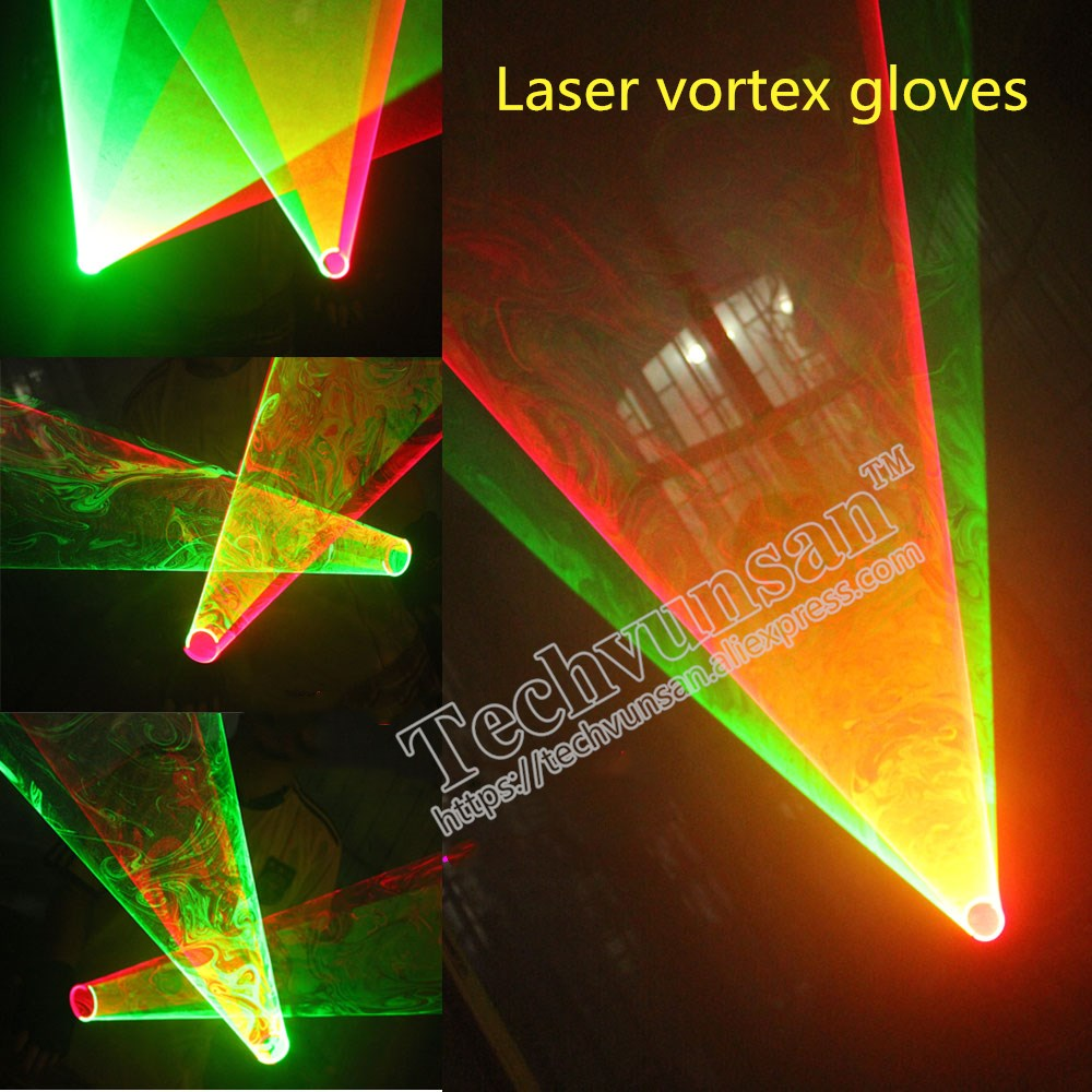 laser gloves Luminous clothing at night LED luminescent glasses Laser dance gloves Swirling vortex pattern Bar red green