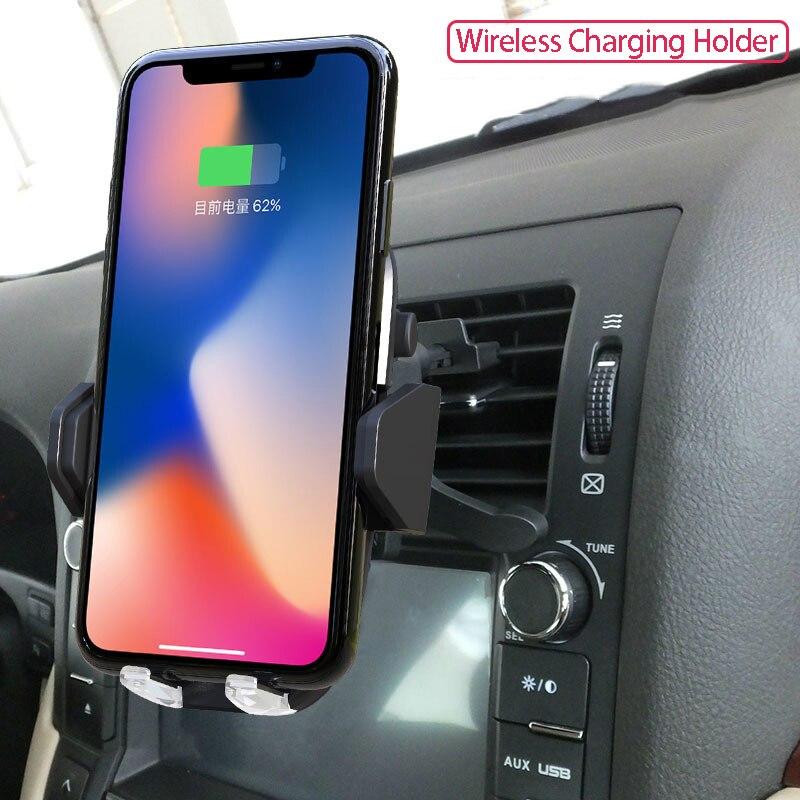 QI Стандартный автомобиля Беспроводной смены мобильного Держатели для телефонов в автомобиль 18 Вт быстро усовершенствовать iphone 8 8 Plus x автом…