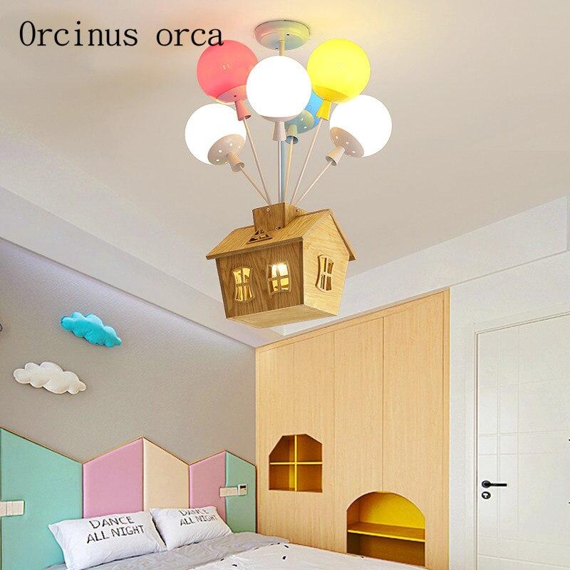 Bande dessinée créative couleur ballon à air chaud pendentif lampe garçon fille chambre enfants chambre lampe moderne LED maison pendentif lampe
