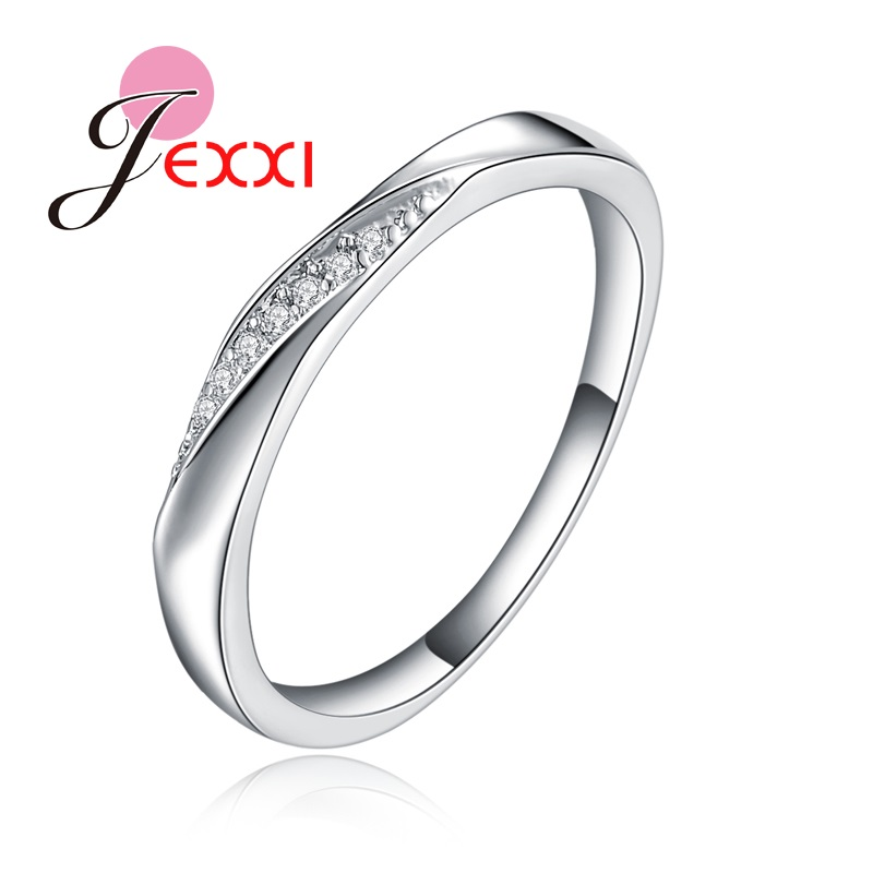 JEXXI Extreme Simple Design Plain Wedding Band For Husband Wife Sterling Silver Engagement Rings For Women Men Couple