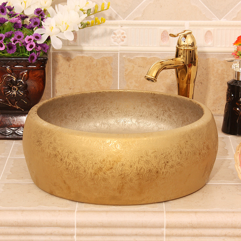 Europe style luxury bathroom vanities chinese Jingdezhen Art Counter Top ceramic round with gold ceramics vanity basin