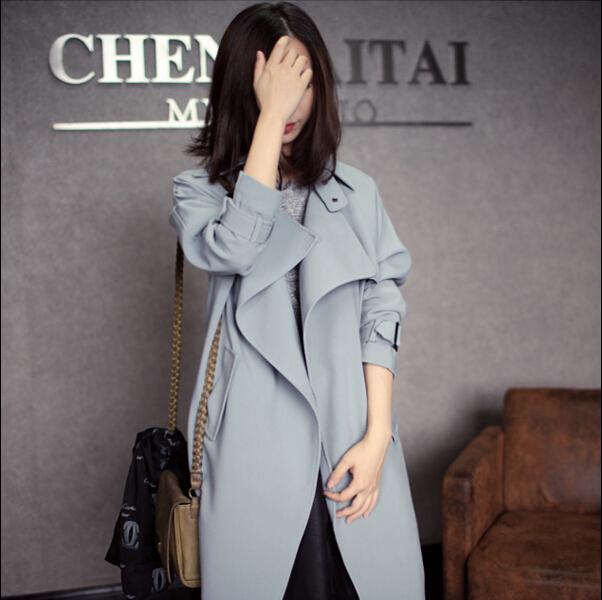Nuevo otoño invierno mujer de encaje de manga larga Trench Coat moda casual alta calidad del color sólido rompevientos abrigo