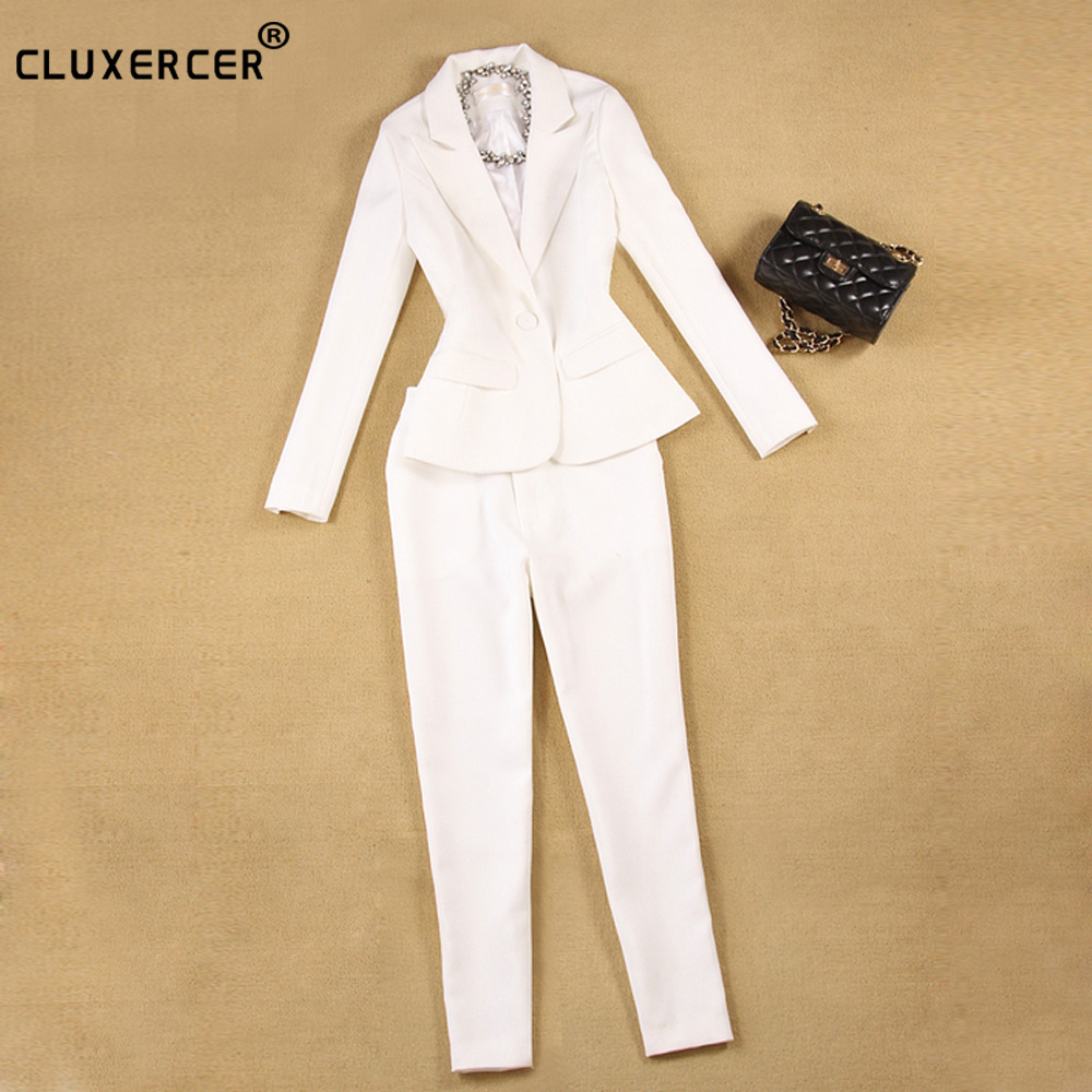 Pant Suits Women Business Formal Office Uniform Style New 2018 White Elegant Womens Suits Blazer With Pants Work Wear for Ladies