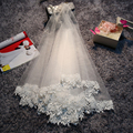 2017 New Design White Ivory Lace Appliques Short Bridal Veils Simple Multi Layer Handmade Women Wdding Accessories Decoration