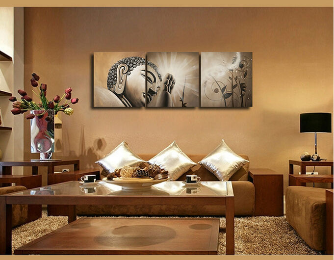 3 Piece Cuadros Abstract Printed Buddhism Lord Buddha Oil