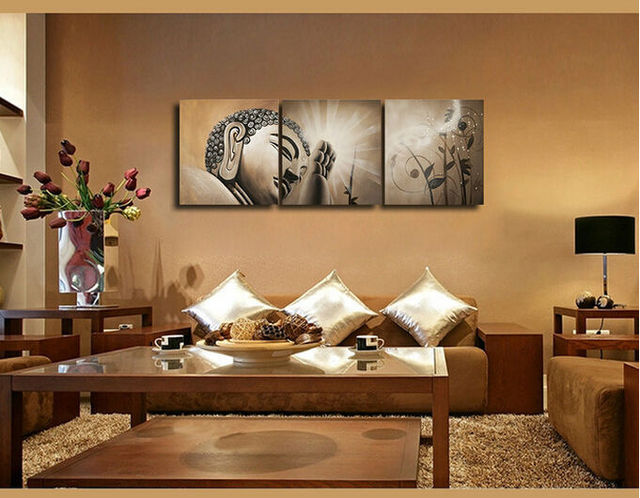 3 piece cuadros abstract printed buddhism lord buddha oil - Oil painting ideas for living room ...