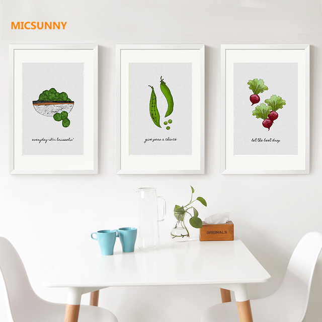 MICSUNNY Minimalist Art Vegetables Pictures Canvas Prints Wall Painting  Modern Poster Home Decor For Dining Room