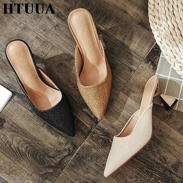 HTUUA Tasarımcı Terlik Kadın Örgü Katır Mujer 2019 Yeni Yaz Ayakkabı Kadın Yüksek Topuklu Slaytlar Sivri Burun Yarım Terlik SX2513