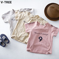 V-TREE Boys Girls Short Sleeve T Shirts 2017 Summer Baby Letter TShirts Children Casual Cotton T-Shirts Teenagers Sweatshirts