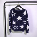 2016 otoño y el invierno nuevo suéter de Europa y América estilo hedging loose estrella jacquard mohair suéter de las mujeres