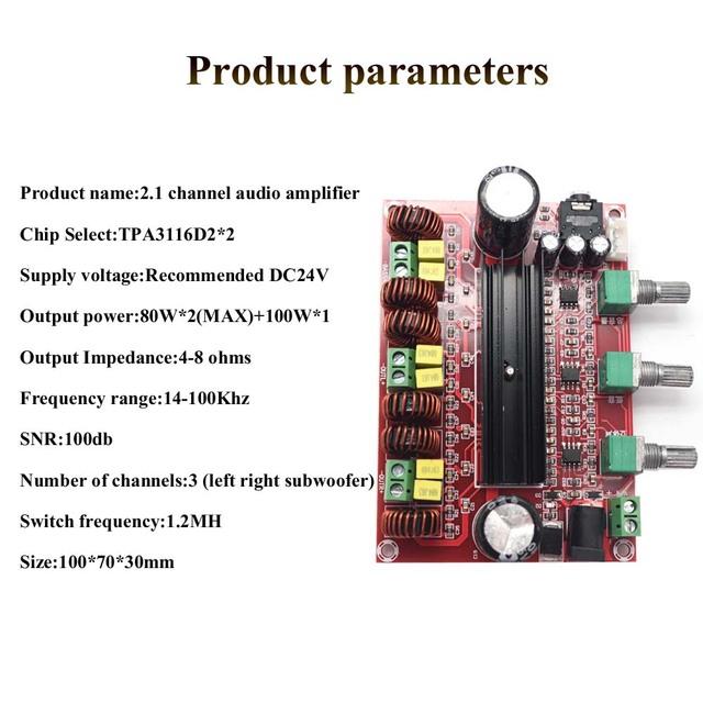 Lusya TPA3116D2 Subwoofer power amplificador 80W*2+100W 2.1 Digital Audio Amplifier for 4-8 ohm Speaker D3-005