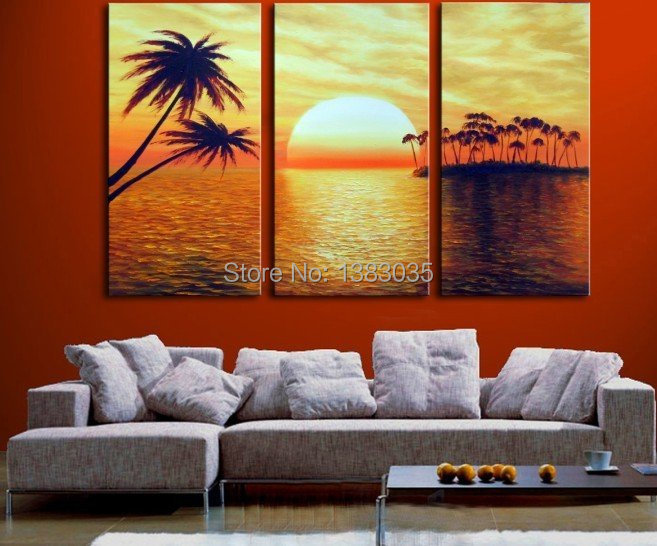 Hand Painted 3pcs Abstract Oil Landscape On Canvas Ocean Sunset Palm Tree Painting Set Wall Art