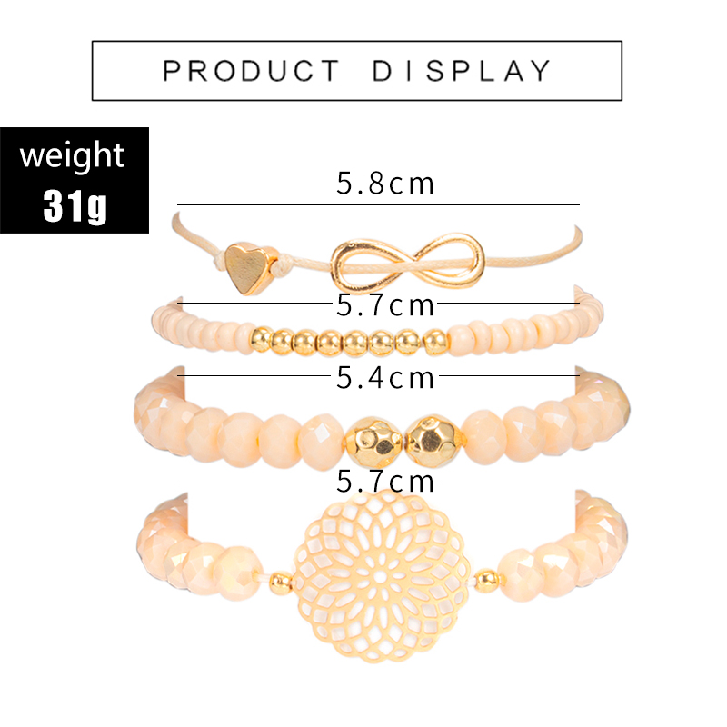 docona Boho Heart Orange Beadeds Bracelet Set for Women Flower Chains Adjustable Bracelet Bangle Pulseiras Party Jewelry 4019 1