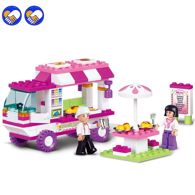 Girl Compatible Legoinglys Friends Snack Car Delivery Car Compatibie Building Blocks Toy Kit DIY Educational Toys For Children