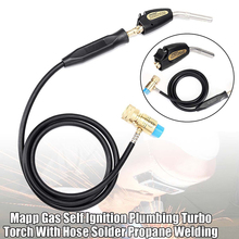 Mapp Soldering Gas Torch Self Ignition Plumbing Turbo Torch Solder Propane Welding Torch with Welding Hose for Soldering Tools