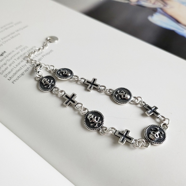 ORIGINAL 925 STERLING SILVER CROSS SKULL BRACELET