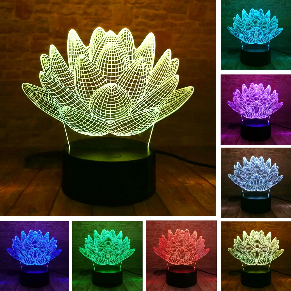 3D LED Lotus Flower Succulent Plants Night Light 7 Colors Christmas Gifts Mood Lamp Kids Child Boys Bedroom Home Decor Drop Ship
