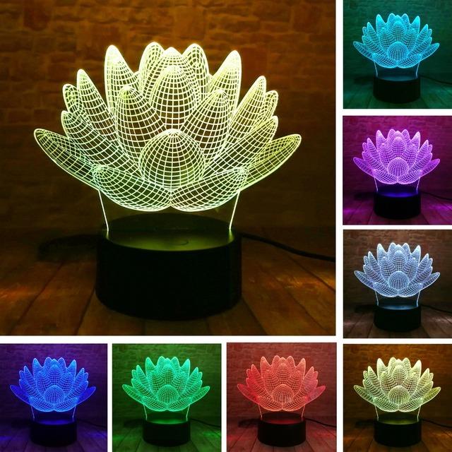 3D LED Lotus Flower Succulent Plants Night Light 7 Colors Christmas Gifts Mood Lamp Kids Child Boys Bedroom Home Decor Drop Ship