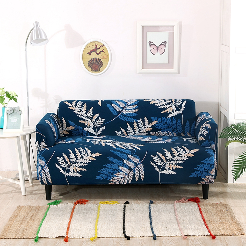 Deep Blue Elastic Sofa Cover Beautiful Leaves Patterns Suitable For  Single/double/three/four Seat Sofa Machine Washable