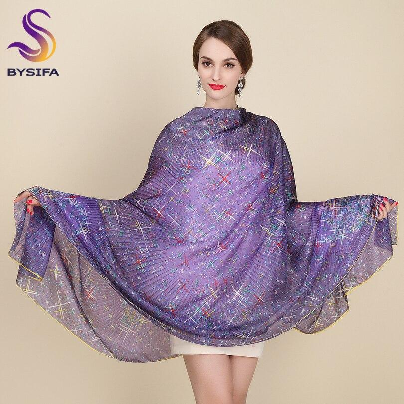 Nagy selyem sál New Design Divat kiegészítők Női Lila csillagok Hosszú sálak 200 * 110cm Plusz méretű őszi téli sálak