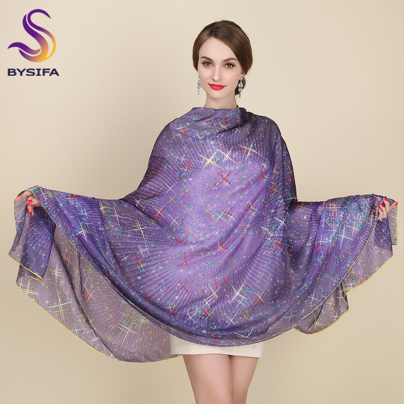 Large Silk   Scarf   New Design Fashion Accessories Women Purple Stars Long   Scarves     Wraps   200*110cm Plus Size Autumn Winter   Scarves
