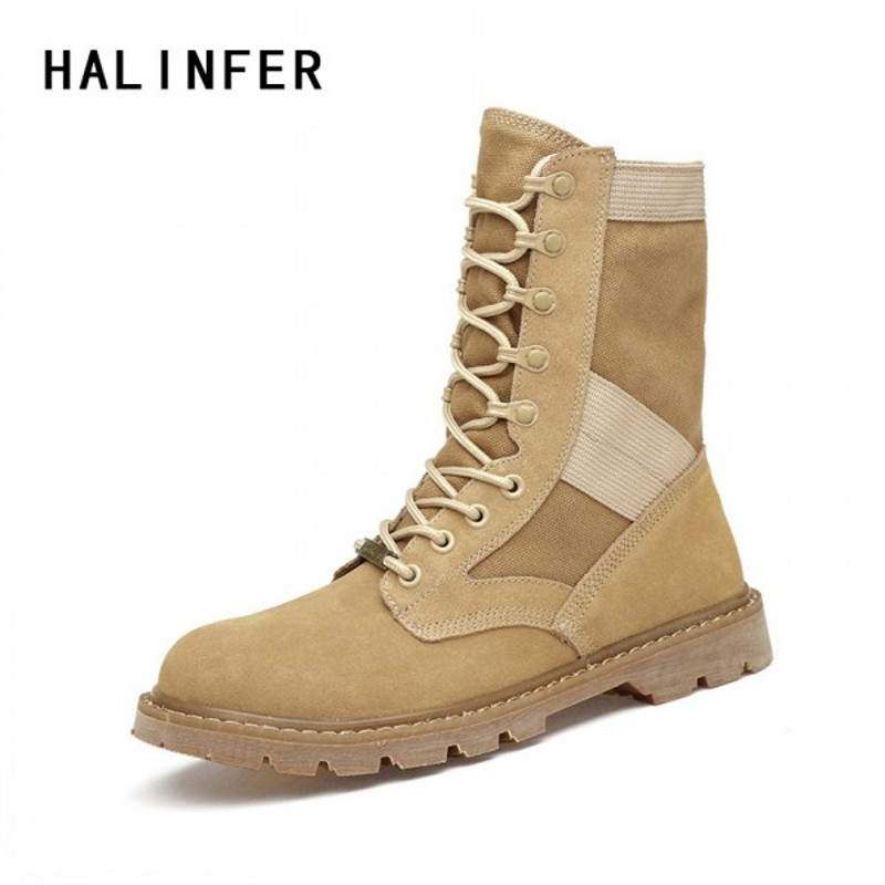 HALINFER work boots for men genuine leather Desert boots black fashion for Men and ladies Military boots