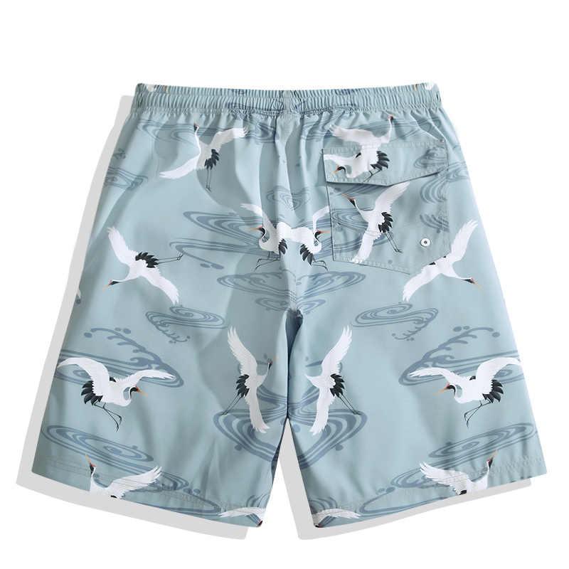 Oufisun 2018 verano nuevos hombres imprimir pantalones cortos marca patrón playa pantalones cortos Bermuda hombre coloridos pantalones de malla hombres