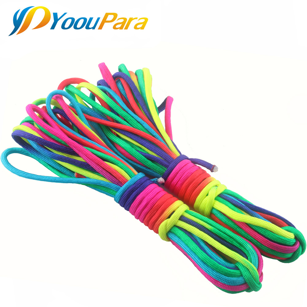 YoouPara 4mm Rainbow Paracord Nylom 7 Stands 550lb Rope For Outdoor Emergence Tent  DIY Bracelet Cuerda Escalada Cord