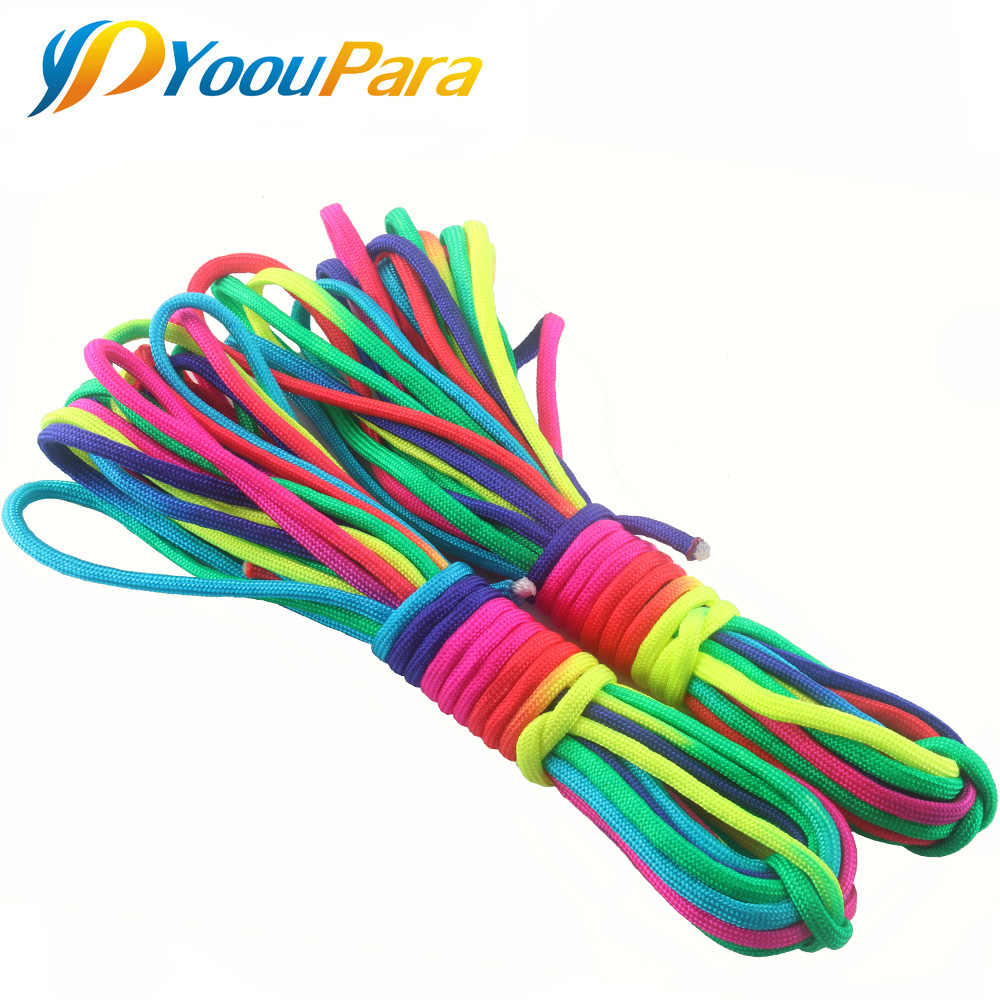 YoouPara 4mm Regenboog Paracord Nylom 7 Stands 550lb Touw Voor Outdoor Opkomst Tent DIY Armband Cuerda Escalada Cord