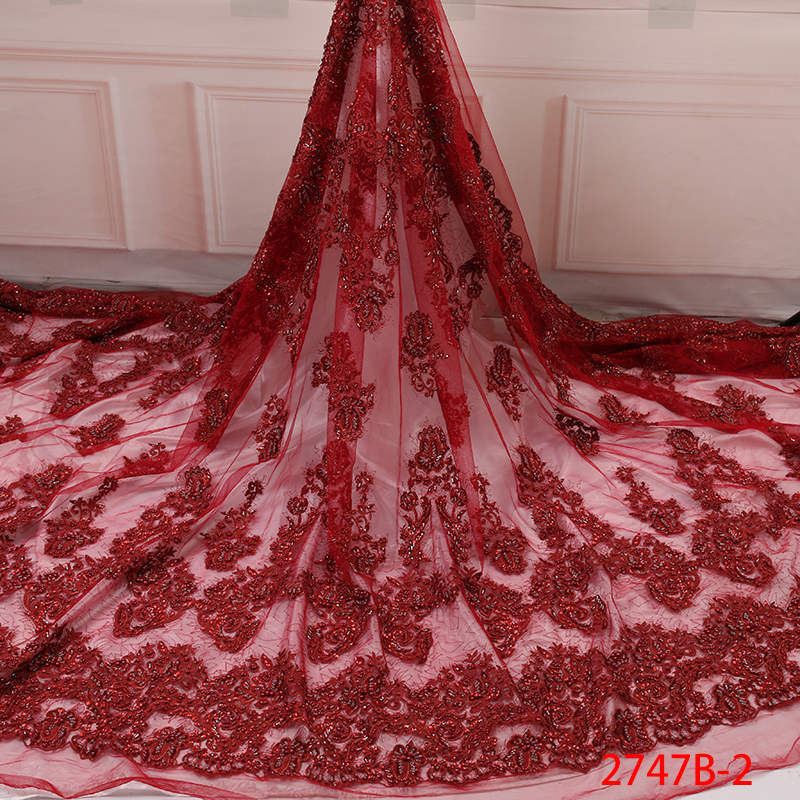 Fashion Beaded African Lace Fabric High Quality Nigerian Organza Lace Fabric French Embroidery Tulle With Beads KS2747B-2