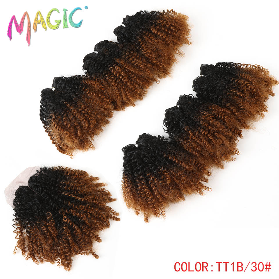 14″Inch Ombre Hair Blonde Afro Kinky Curly Hair Weaving 7pcs/Lot Synthetic Hair Extensions 6Bundles With Closure For Black Women