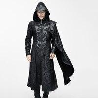 Дьявол Мода Готический Винтаж с капюшоном длинное пальто для мужчин Панк искусственная кожа Красивый куртки съемные нарукавники черный