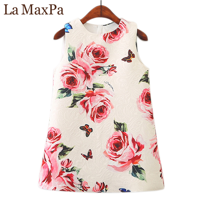 La MaxPa Girl Dress 2018 New Spring Kids Clothes Children Clothing Brand Rose Flowers Print Sleeveless Baby Girl Dress Party uoipae girl kids dress spring 2018