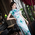 New Fashion Floral Print Long Qipao Traditional Chinese Cheongsam Dress Qipao Oriental Dresses Chinese Style Dress